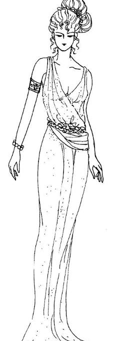 手绘古代女子意境线稿
