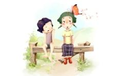 韩版彩绘人物情景图片
