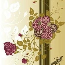 潮流圆形与玫瑰花图片