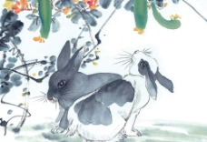 生肖兔国画图片