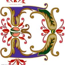 矢量花纹字母4图片
